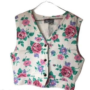 Vintage floral denim vest Large